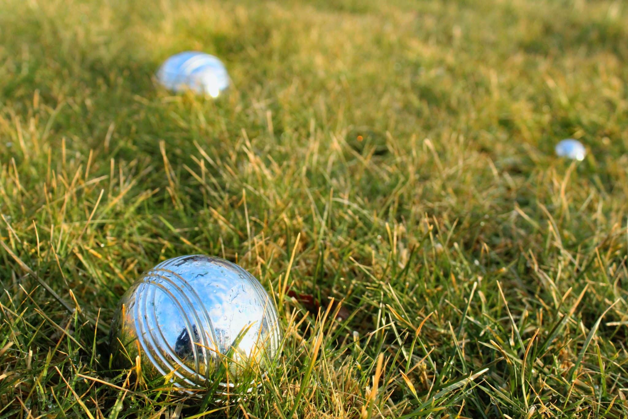 Close up of shiny metal bocce ball in the grass