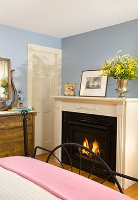 View of the fireplace with a fire, flowers and print in front of a blue wall