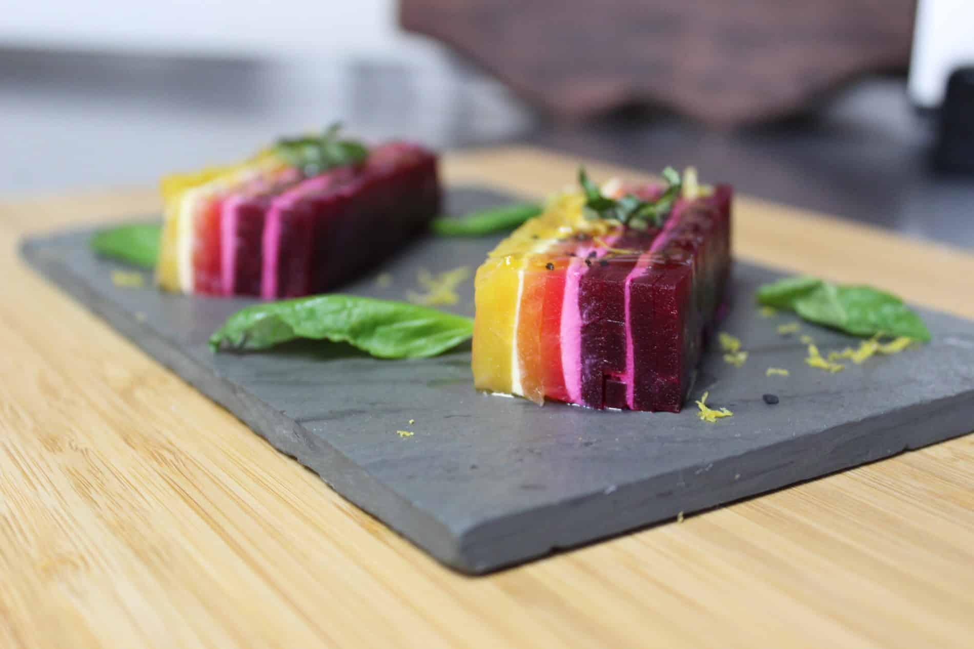 beautiful multi colored beet terrine on a slate